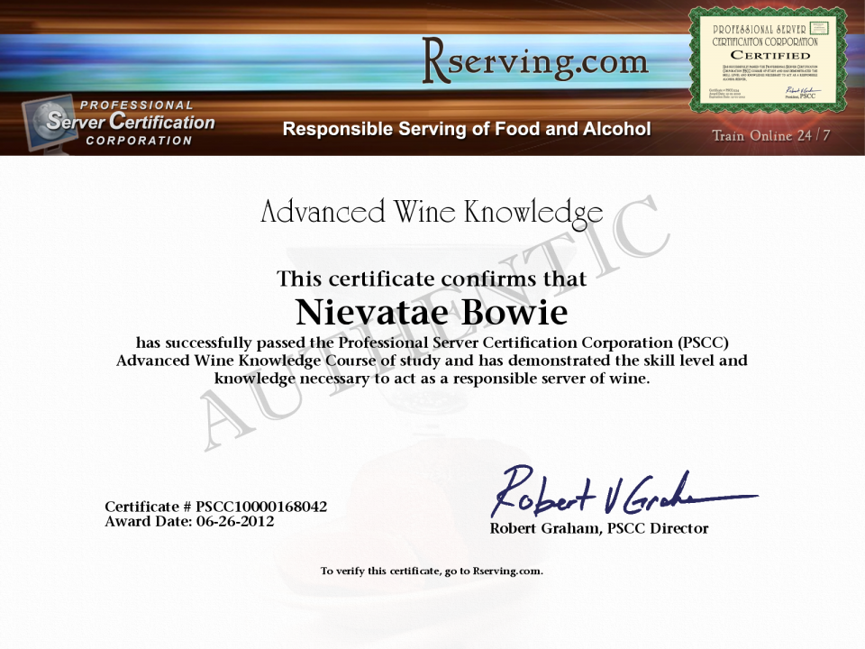 Brittarng Evans Certificate: Advanced Wine Knowledge from Rserving.com!