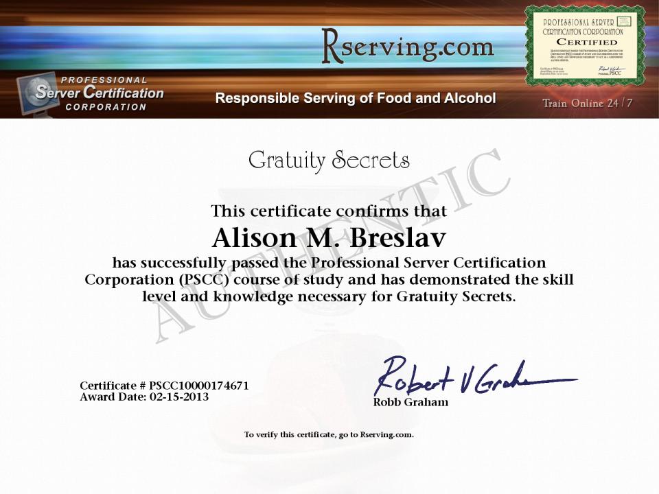 Alison M Breslav Certificate Gratuity Secrets From Rserving
