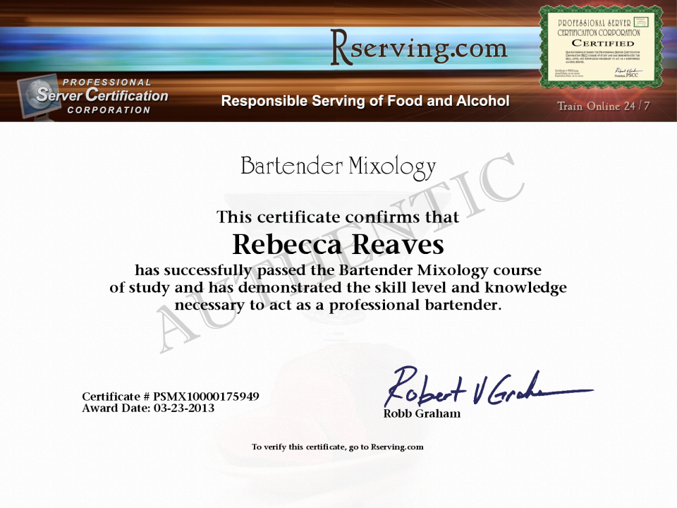 Rebecca Reaves Certificate Bartender Mixology From Rserving