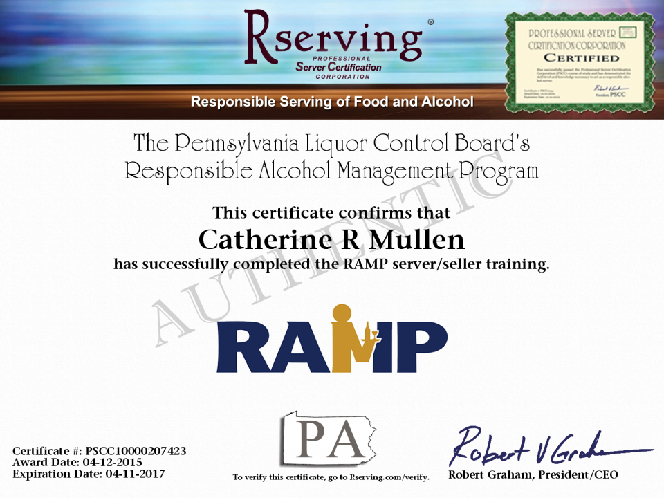Catherine R Mullen Certificate Responsible Alcohol Management