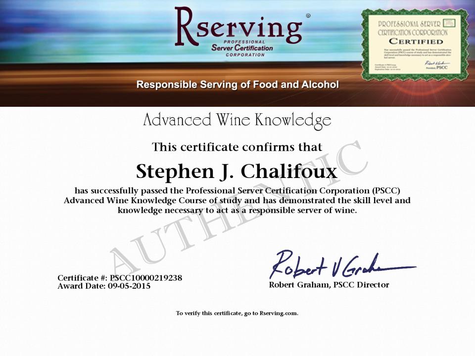 Stephen J. Chalifoux Certificate: Advanced Wine Knowledge from ...