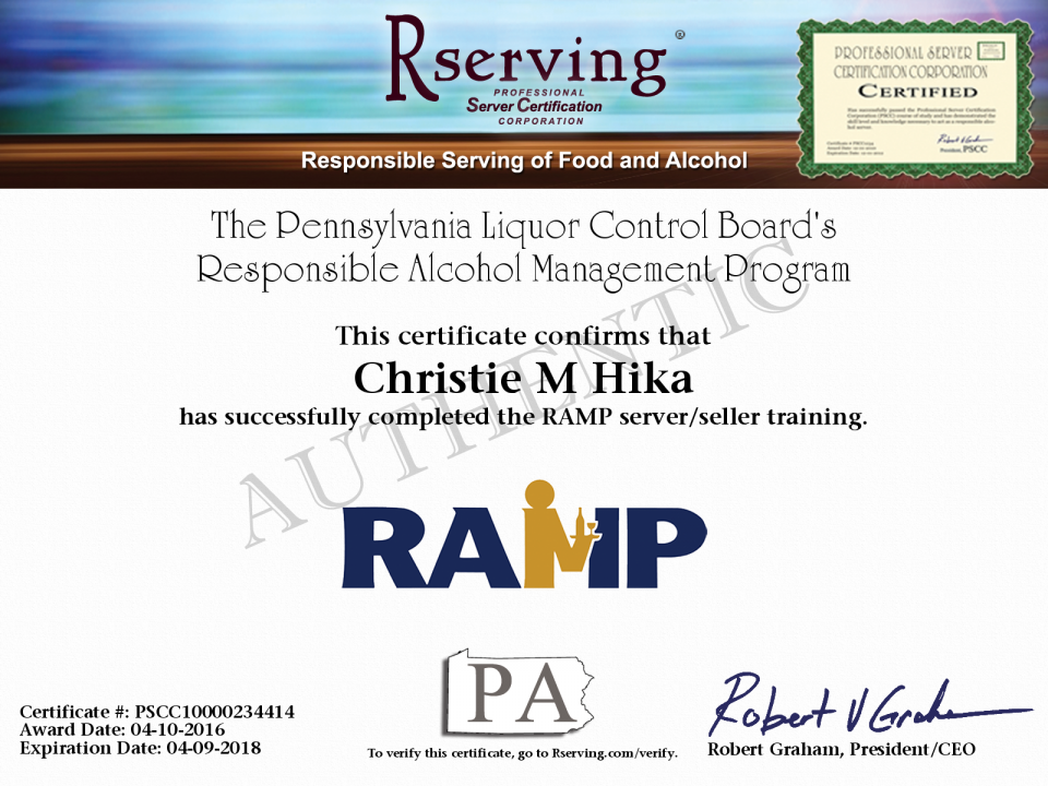 Nikki Arbaugh Certificate Responsible Alcohol Management