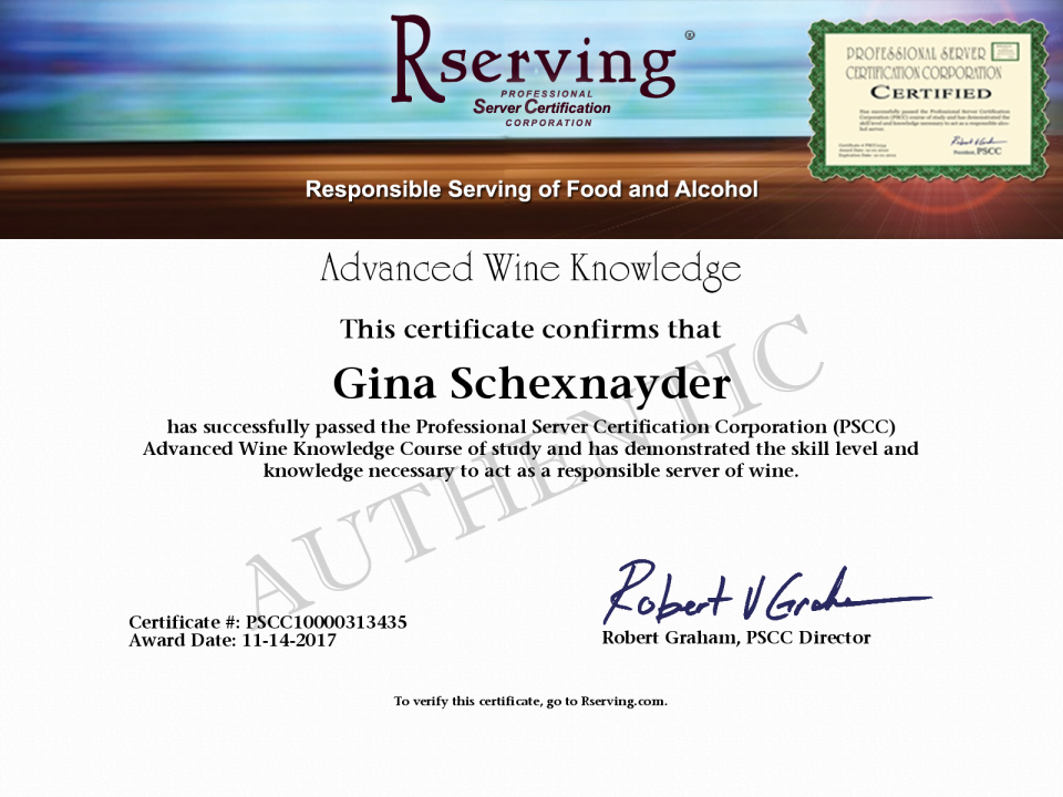 Gina Schexnayder Certificate: Advanced Wine Knowledge from Rserving.com!
