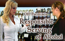 Bartending License, alcohol sales and service - server / seller training certificate  / Off-Premises Responsible Serving®