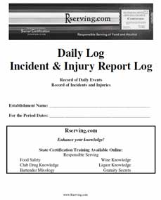 tips alcohol incident report log book Tips® (training for sale, and consumption of alcohol proven effective by third-party studies order tips replacement card: order incident report log book.